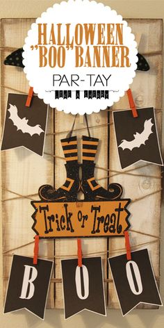 """Free printable black & white halloween """"boo"""" banner.  Decorate for Halloween just by pressing """"print"""" (no color printer needed!!)"""