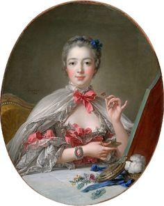 Portrait de Madame de Pompadour  peint en 1750 par François Boucher  Jeanne-Antoinette Poisson, marquise de Pompadour, duchesse de Menars, née le 29 décembre 1721 à Paris et morte le 15 avril 1764 à Versailles, est une dame de la bourgeoisie française devenue favorite du roi de France et de Navarre Louis XV.