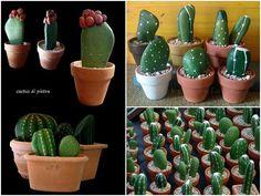 Stone cactus decorations - decoração com cactus de pedra