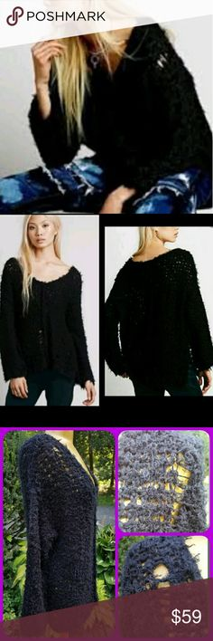 Free People Tattered Holey Distressed Sweater New no tag .the interior tag is marked pls see pics  Free People Up the ladder sweater  Black combo  Sz medium  Oversized slouchy fit  Lots of holes 👍tattered shredded dare I say grunged out?!?! 21st century grunge fer shur! Never worn cos I have in sz small & fits better 👅😎 Offer via button only pls. Best $$ is had by bundling!  Tysm for peeping my pish posh closet Free People Sweaters