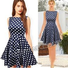 2014 Casual Elegant Dresses Women Sleeveless Party Vintage Prom Polka Dot Printed Dresses Dark Blue Plus Size S/M/L/XL bz851551(China (Mainland))