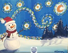 Learn how to paint a snowman starry night with this FREE acrylic canvas painting tutorial! Tracie's painting tutorials are great for beginners & even kids! Christmas Paintings On Canvas, Christmas Canvas, Christmas Art, Canvas Paintings, Winter Christmas, Canvas Painting Tutorials, Acrylic Painting Lessons, Snowmen At Night, Winter Art Projects