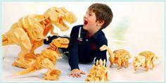 Interaktywny Ogromny T-Rex chodzący D200 - reaguje na klaskanie, ryczy, chodzi- Puzzle 3D - seria Chodzące Dinozaury - Robotime® - DinoDino
