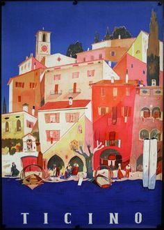 Chisholm Larsson Gallery   Original Vintage Posters   CL21418: Ticino (3)