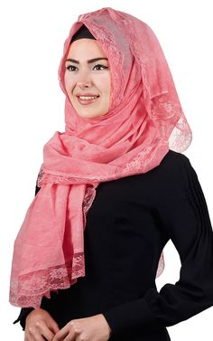 2016 COTTON  4 x LACE PASHMINA KOPFTUCH 100x100cm Hijab AMIRA SCARF FOULAD ROSA