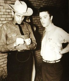 """Apr. 30, 1955 - Elvis performed at the Louisiana Hayride, from the Gladewater, Texas, High School. Elvis was late for the show, and he had time to sing only one song. Elvis chose """"Tweedle dee"""""""