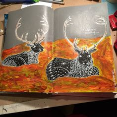 And this page is done. #caribou for #Christmas .@thestromboshow #art #artjournal