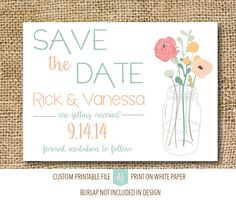 Printable save the dates in rustic style. Completely customizable to your fonts, colors, and styles. Click through for matching invites, RSVPs, direction cards and more.  Or shop our 1000+ designs for all of life's journeys. From weddings to anniversaries, graduations to new babies, if you celebrate it, we can design it! Only at Aesthetic Journeys