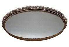 Vintage Oval Mirrored Filigree Trimmed Vanity by TheSilverOyster