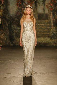 Jenny Packham gold and white wedding dress