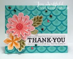Stampin' Up! Flower Patch, Flower Fair, photopolymer,  meets Striped Scallop die