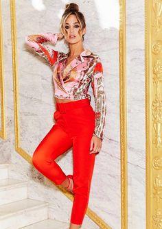 0eb2b23a423 Missyempire - Izzy Red High Waist Belted Trousers Red High, Crop Shirt,  High Waist