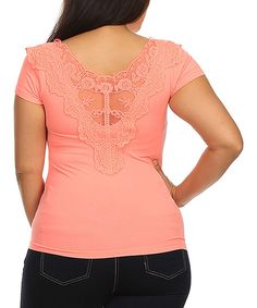 This BellaBerry USA Peach Lace-Back Scoop Neck Top - Plus by BellaBerry USA is perfect! #zulilyfinds