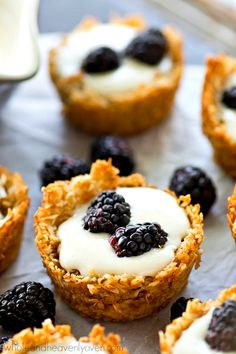 coconut macaroon crusts and topped with lots of fresh blackberries ...