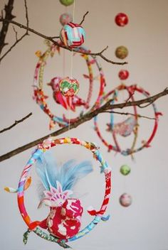 Bird Mobile.  Love the look but papier mache birds are too complicated.  Use store bought birds from craft store.
