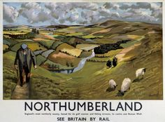 Northumberland Countryside. Vintage British Railways Travel poster by Armangol