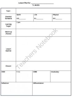 Lesson Plan Template and New Teacher Packet | Attendance sheet ...