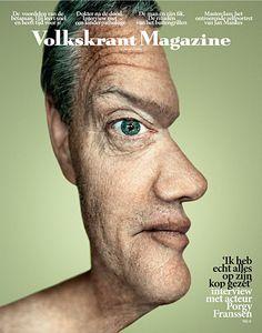 Optische illusie op de voorkant van het Volkskrant Magazine...van 2 kanten te bekijken..  #magazine #cover #inspiration
