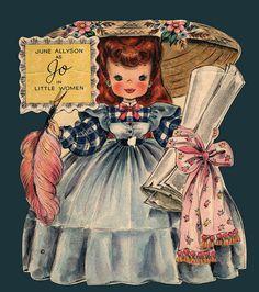 June Allyson as Jo - Hallmark Dolls Collectors Album From the Land of Make Believe Doll # 92 Decoupage Vintage, Vintage Paper Dolls, Vintage Ephemera, Vintage Postcards, Vintage Labels, Sarah Kay, Vintage Birthday Cards, Vintage Greeting Cards, Birthday Greeting Cards