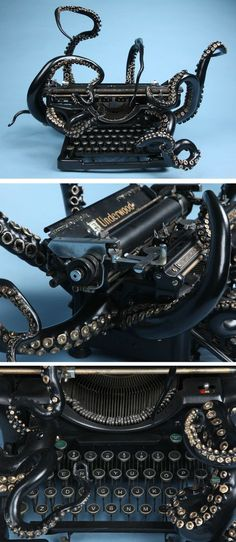 An Octopus Typewriter by Courtney Brown The echo of the shape of the typewriter keys with the suckers of the tentacles is interesting. I also like how the curves of the octopus echo the lines and curvature of the typewriter itself. Style Steampunk, Gothic Steampunk, Steampunk Octopus, Steampunk Clothing, Le Kraken, Steampunk Accessoires, Motif Art Deco, Octopus Art, Octopus Decor