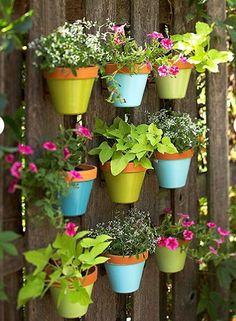 Pots on a fence