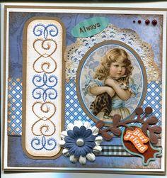 Voorbeeldkaart - scrap - Categorie: Scrapkaarten - Hobbyjournaal uw hobby website Diy Cards, Paper Art, Card Ideas, Shabby Chic, Scrap, Victorian, Embroidery, Stitch, Frame