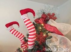diy elf legs holiday humor, christmas decorations, crafts, how to, seasonal holiday decor