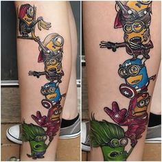 These Minions pretending to be Avengers. | 31 Marvel Tattoos That Will Make You Want To Be A Superhero