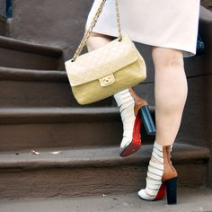 Louboutin Strappy Sandals, Tan Chanel Bag.  Street Style.