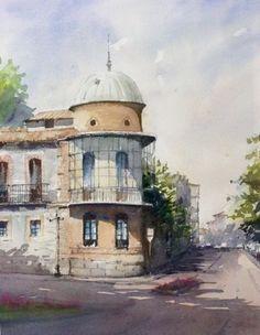 Acuarela Palacete de Nebreda Avila - Fermin Lopez