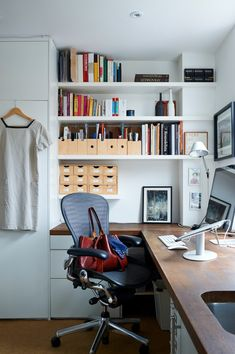 Christine Chang Hanway Home Office, MHL Dress, Aeron Chair, La Tropezienne by Claire Vivier, Photo by Jonathan Gooch | Remodelista