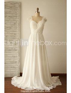 A-line Wedding Dress - Chic & Modern Sweep / Brush Train V-neck Chiffon / Lace with Beading / Criss-Cross 2017 - $109.99