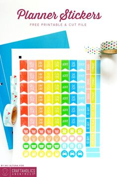 Free Printable Planner Stickers with SVG cut file || love the bright rainbow colors! And this is a great way to organize your planner!
