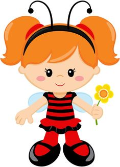 Lindo Cute Images, Cute Pictures, Ladybug Girl, Girls Clips, Chibi Girl, Clip Art, Baby Art, Fabric Painting, Say Hello