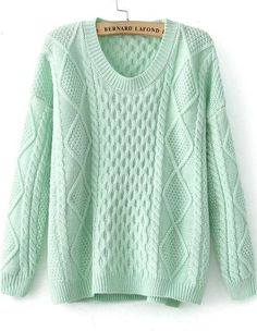 To find out about the Green Long Sleeve Diamond Patterned Knit Sweater at SHEIN, part of our latest Sweaters ready to shop online today! Cute Sweaters, Cable Knit Sweaters, Long Sweaters, Pullover Sweaters, Sweater Shop, Loose Sweater, Green Sweater, Mint Sweater, Female Shorts