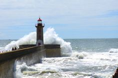 Foz Lighthouse is situated at the edge of the Douro's river mouth and the Atlantic coastline along Porto, Portugal.