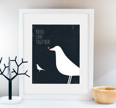 LOVE Birds Prints, Doves Print, Mid Century Modern, Home Sweet Home, Vintage art Home Decor, Retro Print, Wedding Gift, Eames Bird wall art by Fybur on Etsy https://www.etsy.com/listing/175323547/love-birds-prints-doves-print-mid