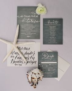 "For their Florida wedding on the beach, Amanda and Teresa invited guests using Minted's ""Love Letter"" design, customized with a background resembling a chalkboard."