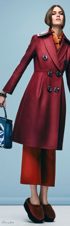 Fendi Pre-Fall 2016 maroon burgundy coat women fashion outfit clothing style apparel @roressclothes closet ideas