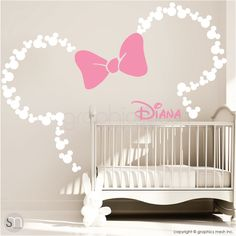 bc24bd6b290 Mickey Mouse Inspired ears with Bow   PERSONALIZED BABY NAME   Minnie Mouse  Inspired wall decals by GraphicsMesh (Medium)