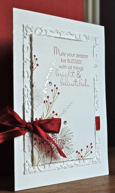 Love the dry embossing and add some silver embossed accents