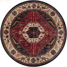 Surya Ancient Treasures Round Wool Hand Tufted Traditional Area Rug Red Home Decor Rugs Area Rugs Round Area Rugs, Blue Area Rugs, Thing 1, Traditional Area Rugs, Hand Tufted Rugs, Rug Shapes, Wool Area Rugs, Wool Rug, Throw Rugs