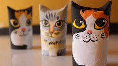Kitten Ornament from toilet paper roll - cat / kitty Crafts For Kids, Arts And Crafts, Kids Homework, Toilet Paper Roll, Cat Party, Ceramic Clay, 5 Minute Crafts, Diy Room Decor, Origami