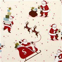 white Santa Claus fabric reindeer by Robert Kaufman