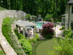 Dazzling Cool Backyard Design for Modern House: Traditional Landscape Concept Installed In Home Backyard Displaying Nice Gray Pergola For Ou. Sloped Yard, Sloped Backyard, Steep Backyard, Terraced Backyard, Backyard Landscaping, Backyard Ideas, Landscaping Ideas, Backyard Pergola, Pergola Ideas