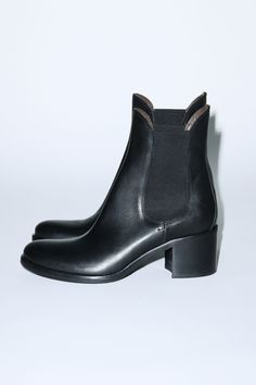 stacked heel ankle boot