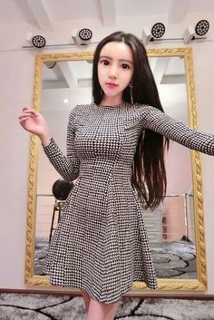 Cute Plaid long sleeved Dress