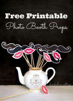 Get your Printable Lip & Mustache photo booth props free at www.foxhollowcottage.com - perfect for Valentine's Day fun dress up and party fun!