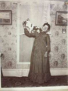 """Cabinet Card style Photograph Woman Named """"Martha"""" In Night Dress With Cat"""