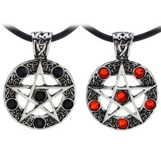 Supernatural inspired five pointed star pendant necklace in a red or black six stone design. These pendant necklaces come with an approx. 42cm length black cord necklace and a 3.5cm Pentagram pendant.